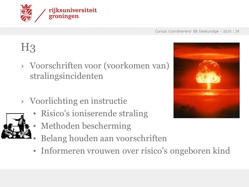 H3 Voorschriften voor (voorkomen van) stralingsincidenten