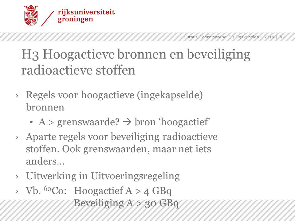 H3 Hoogactieve bronnen en beveiliging radioactieve stoffen