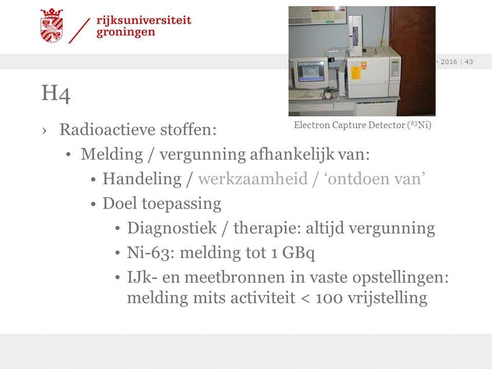 H4 Radioactieve stoffen: Melding / vergunning afhankelijk van: