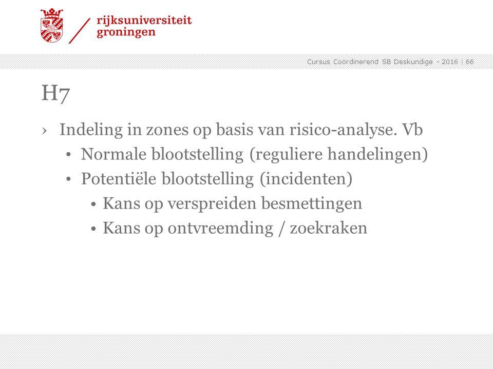 H7 Indeling in zones op basis van risico-analyse. Vb
