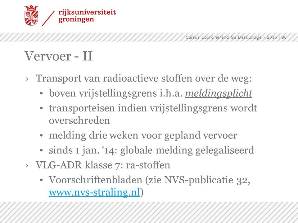 Vervoer - II Transport van radioactieve stoffen over de weg: