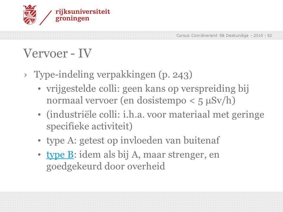 Vervoer - IV Type-indeling verpakkingen (p. 243)