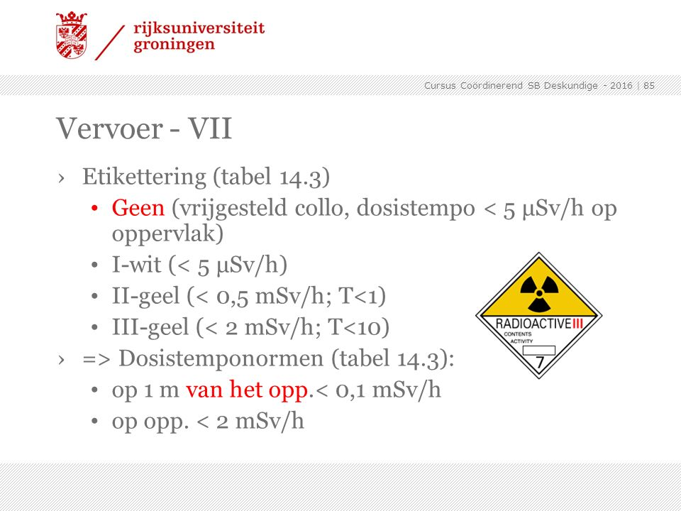 Vervoer - VII Etikettering (tabel 14.3)