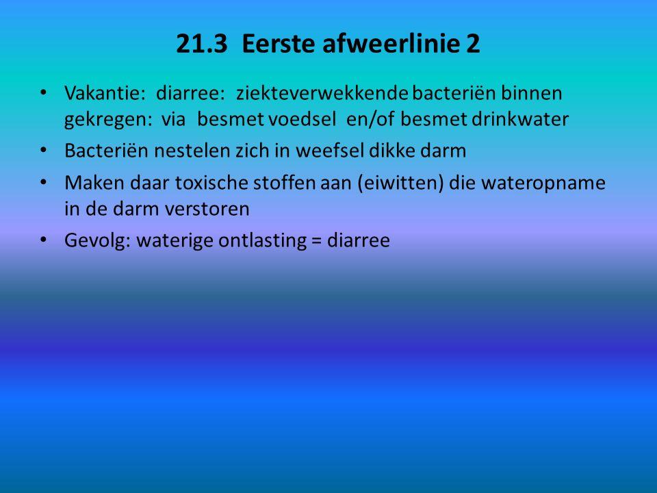 21.3 Eerste afweerlinie 2 Vakantie: diarree: ziekteverwekkende bacteriën binnen gekregen: via besmet voedsel en/of besmet drinkwater.