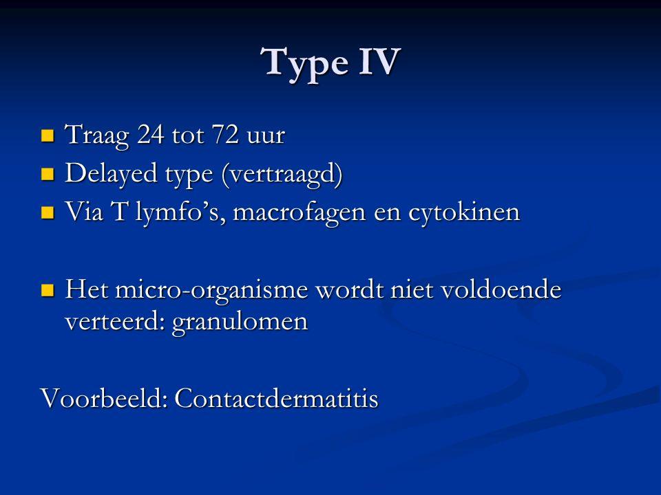 Type IV Traag 24 tot 72 uur Delayed type (vertraagd)