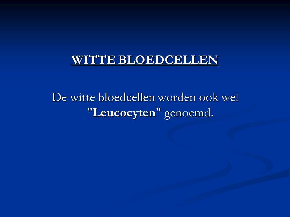 De witte bloedcellen worden ook wel Leucocyten genoemd.