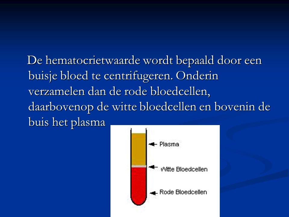 De hematocrietwaarde wordt bepaald door een buisje bloed te centrifugeren.