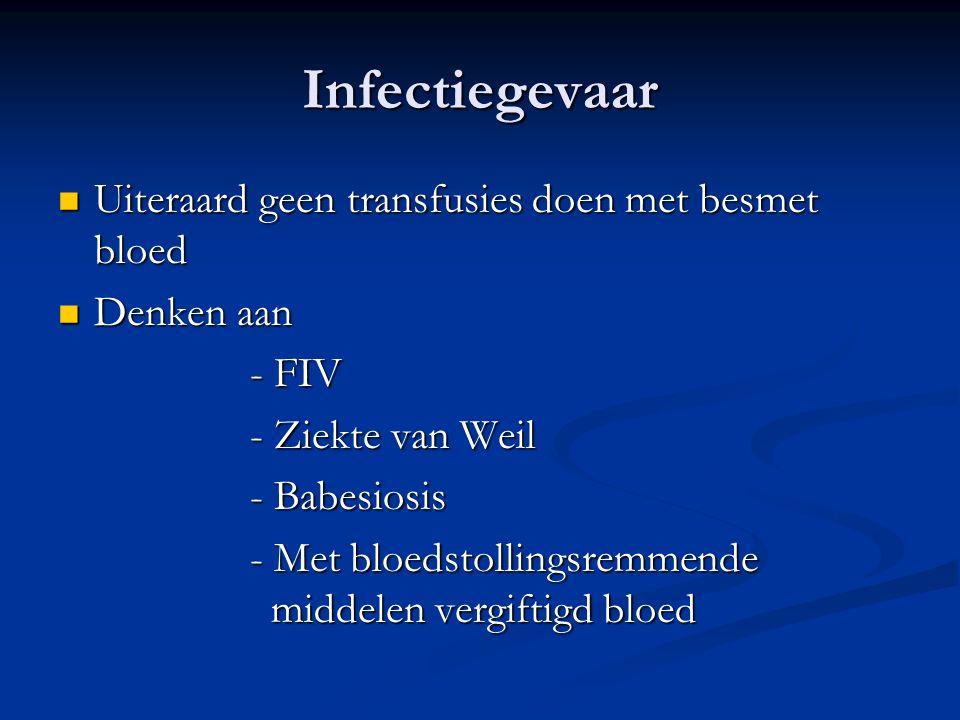 Infectiegevaar Uiteraard geen transfusies doen met besmet bloed