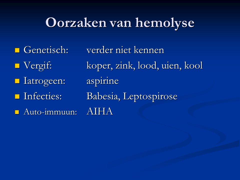 Oorzaken van hemolyse Genetisch: verder niet kennen
