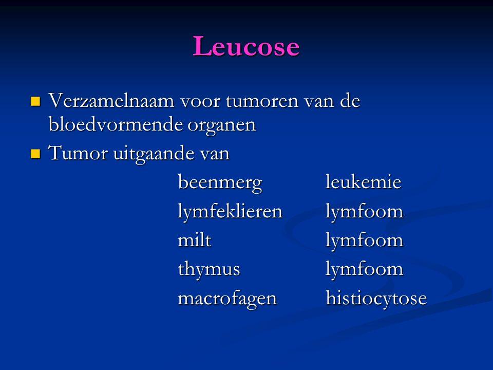 Leucose Verzamelnaam voor tumoren van de bloedvormende organen