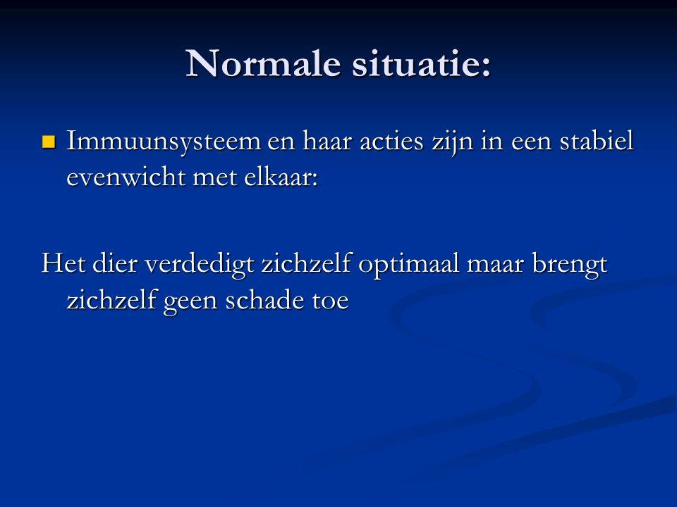 Normale situatie: Immuunsysteem en haar acties zijn in een stabiel evenwicht met elkaar: