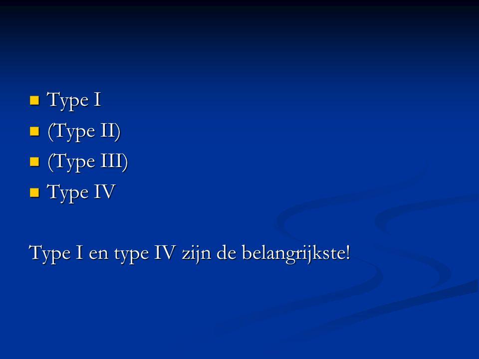 Type I (Type II) (Type III) Type IV Type I en type IV zijn de belangrijkste!