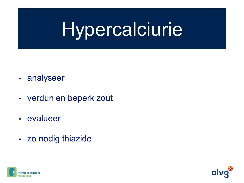 Hypercalciurie analyseer verdun en beperk zout evalueer