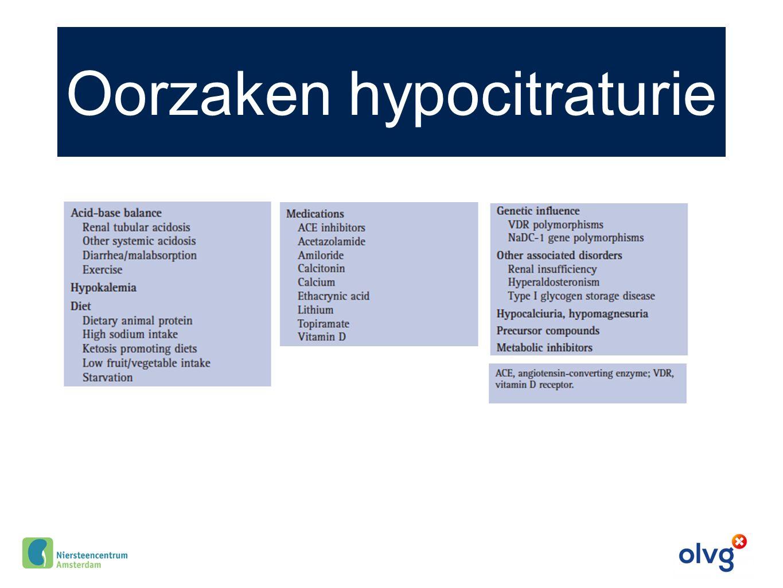 Oorzaken hypocitraturie
