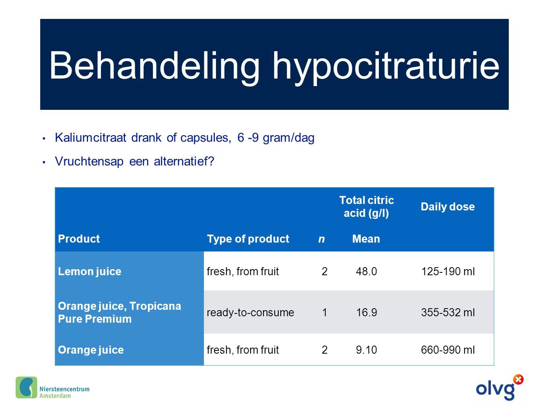 Behandeling hypocitraturie