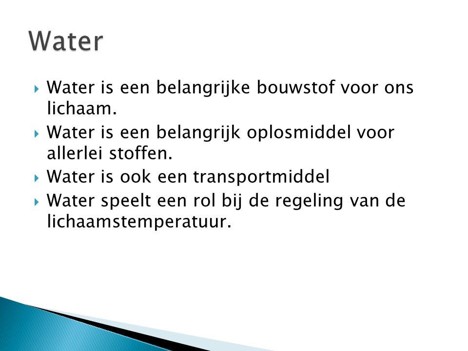 Water Water is een belangrijke bouwstof voor ons lichaam.
