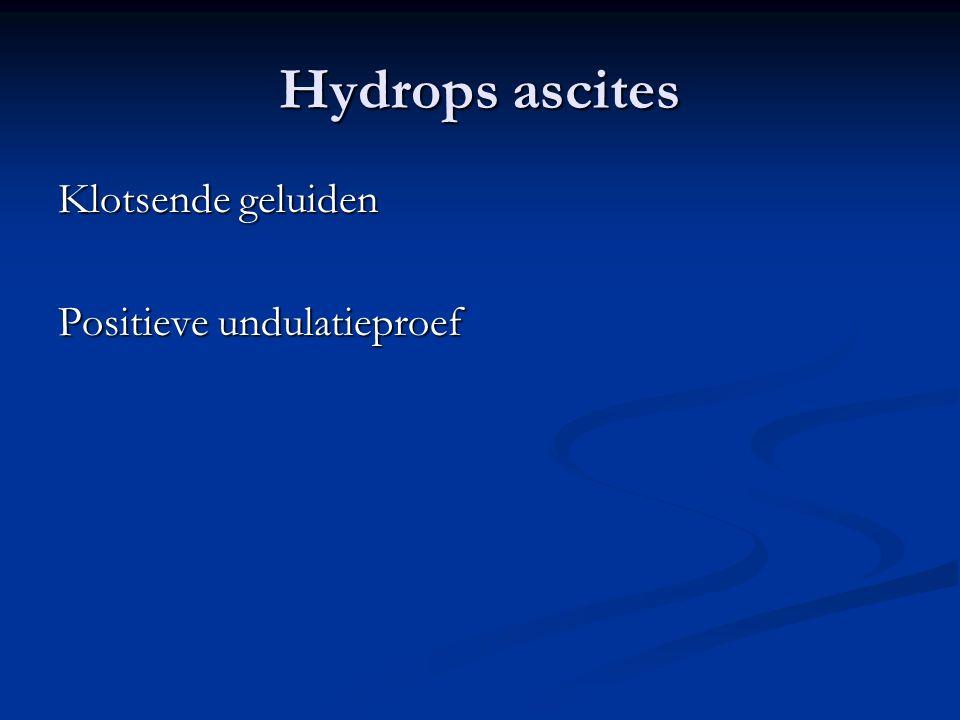 Hydrops ascites Klotsende geluiden Positieve undulatieproef