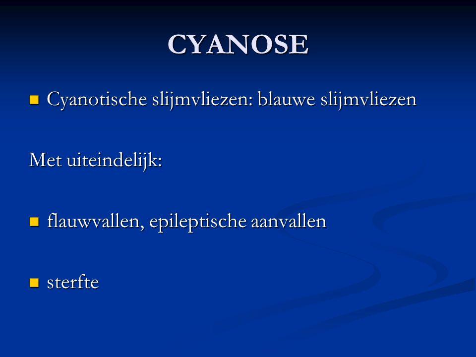 CYANOSE Cyanotische slijmvliezen: blauwe slijmvliezen