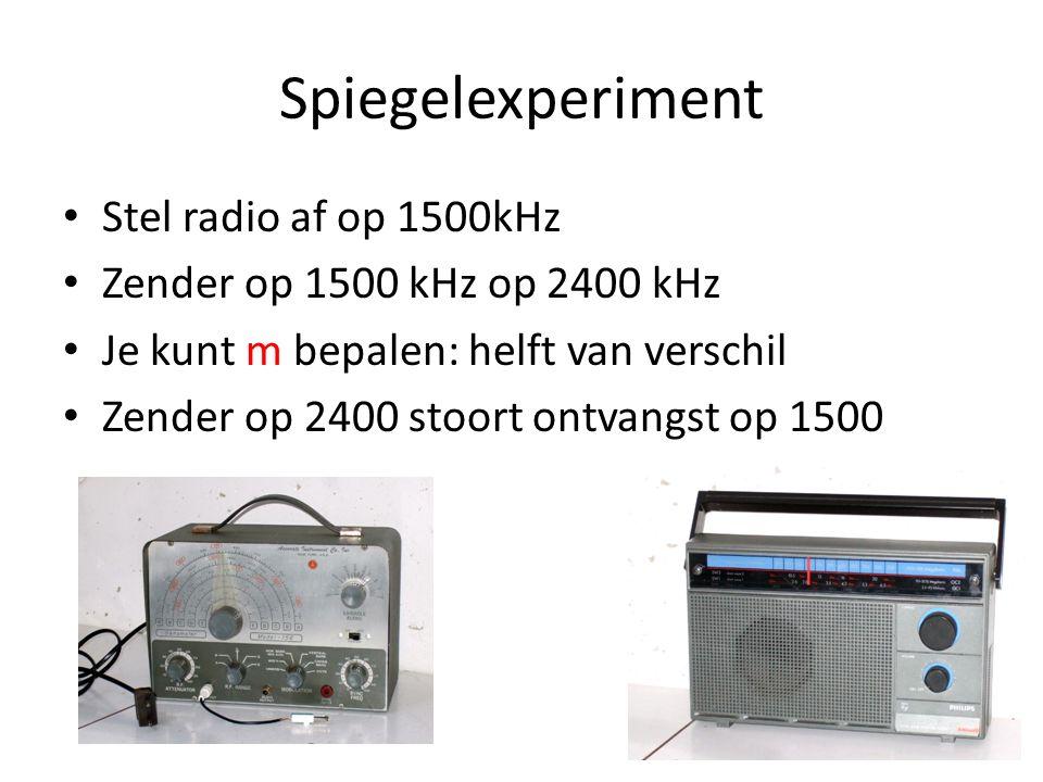 Spiegelexperiment Stel radio af op 1500kHz