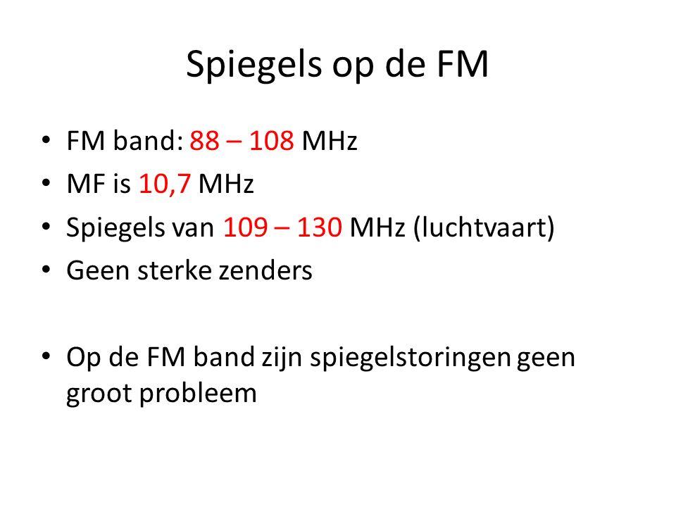 Spiegels op de FM FM band: 88 – 108 MHz MF is 10,7 MHz