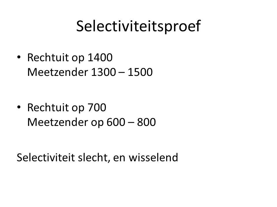 Selectiviteitsproef Rechtuit op 1400 Meetzender 1300 – 1500