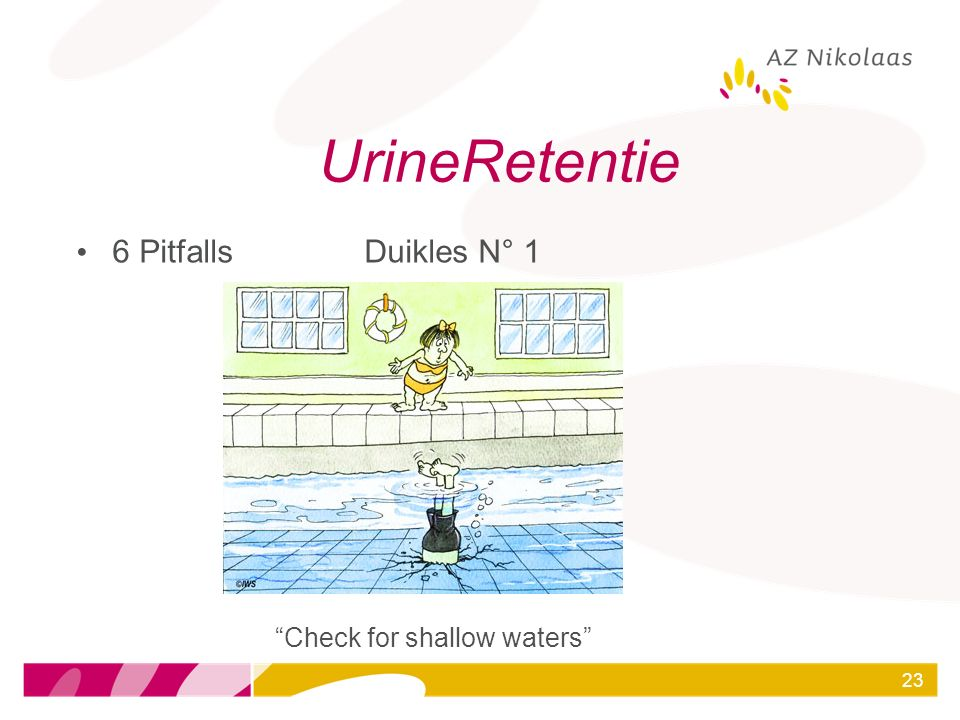 UrineRetentie 6 Pitfalls Duikles N° 1 Check for shallow waters