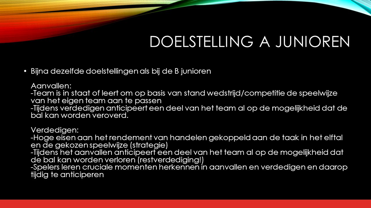 Doelstelling A junioren