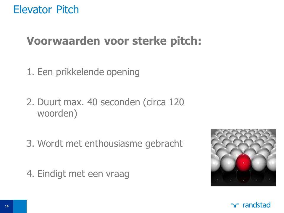 Voorwaarden voor sterke pitch: