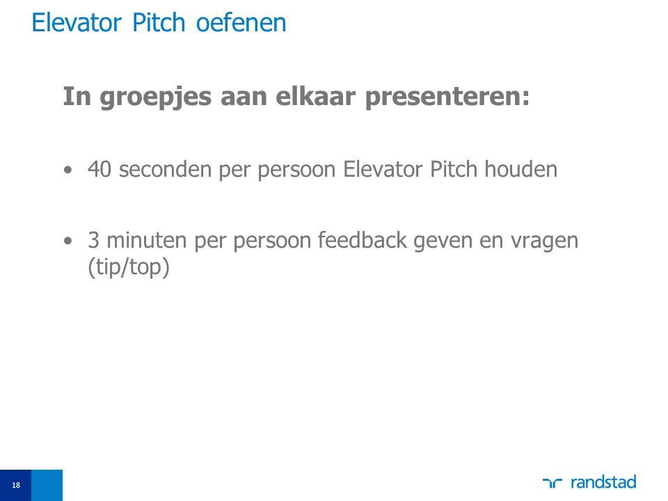Elevator Pitch oefenen