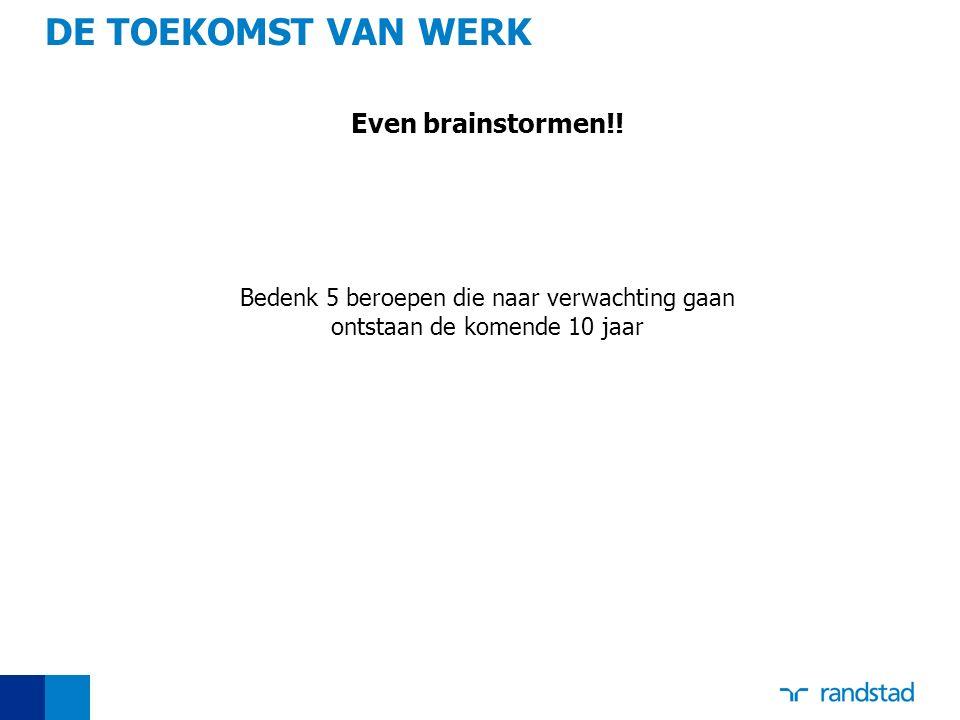 DE TOEKOMST VAN WERK Even brainstormen!!