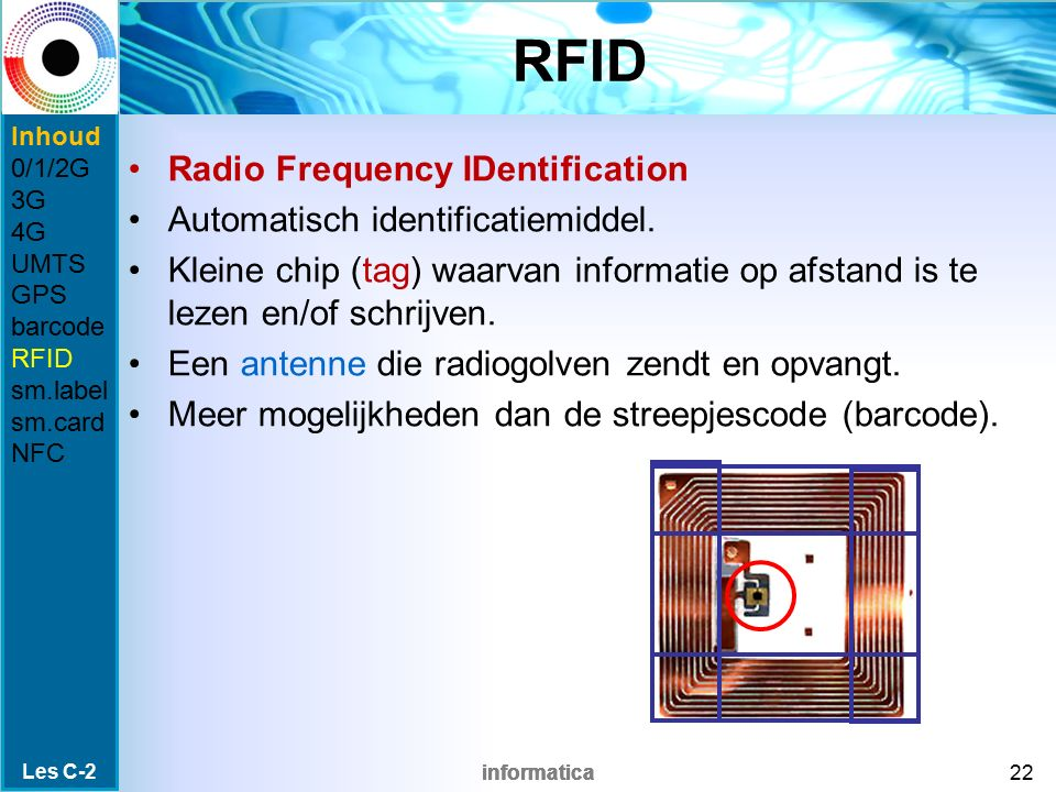 RFID Radio Frequency IDentification Automatisch identificatiemiddel.