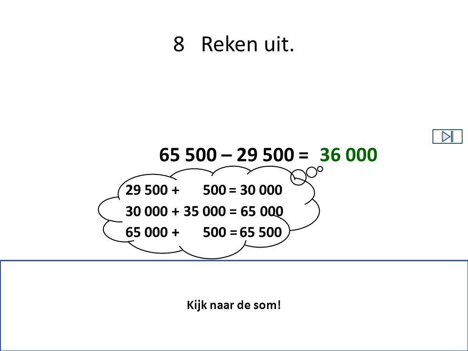 8 Reken uit. 65 500 – 29 500 = 36 000. 29 500 + = 30 000. 500. 30 000 + = 65 000.