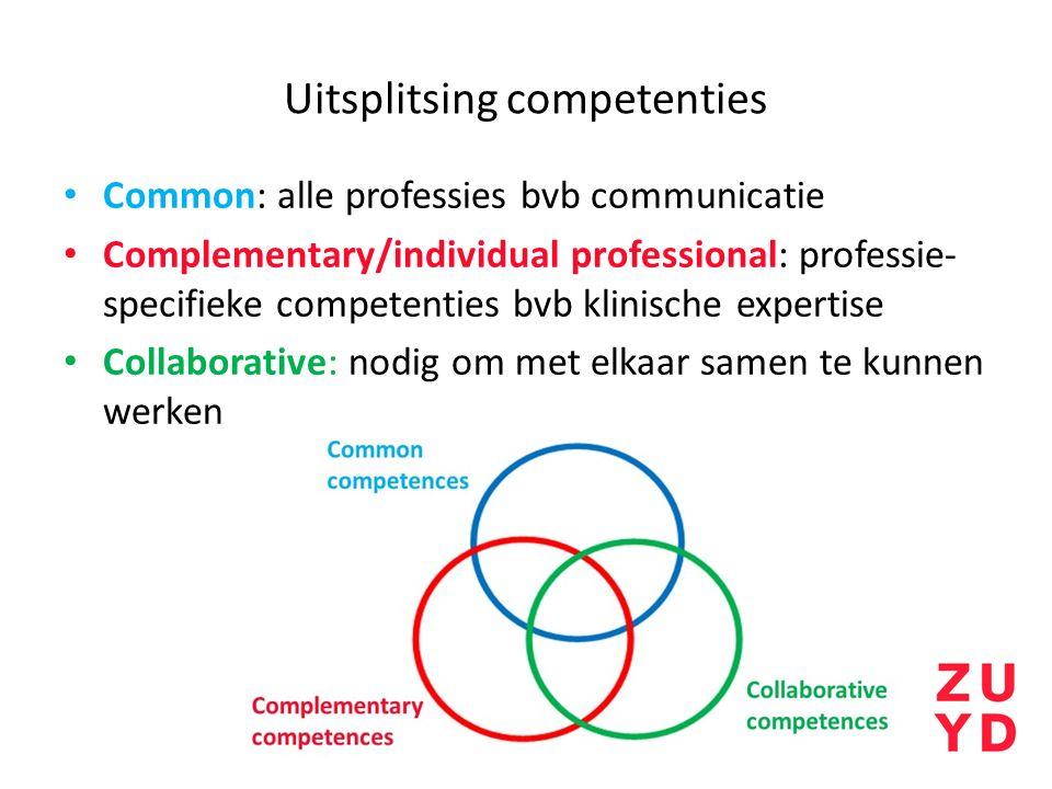 Uitsplitsing competenties