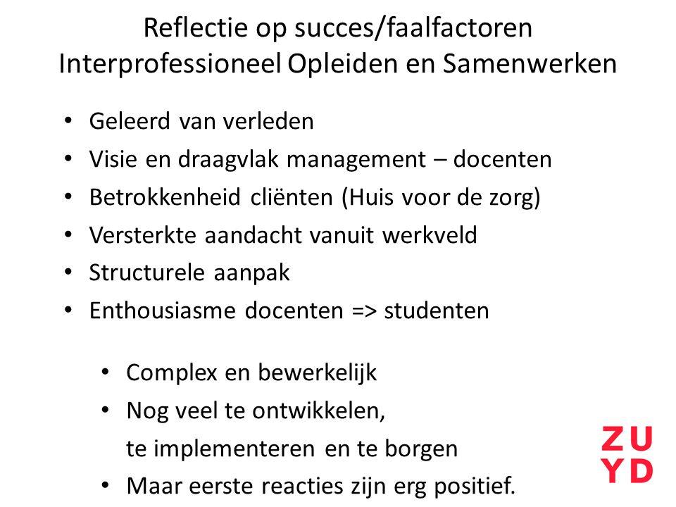 Reflectie op succes/faalfactoren Interprofessioneel Opleiden en Samenwerken