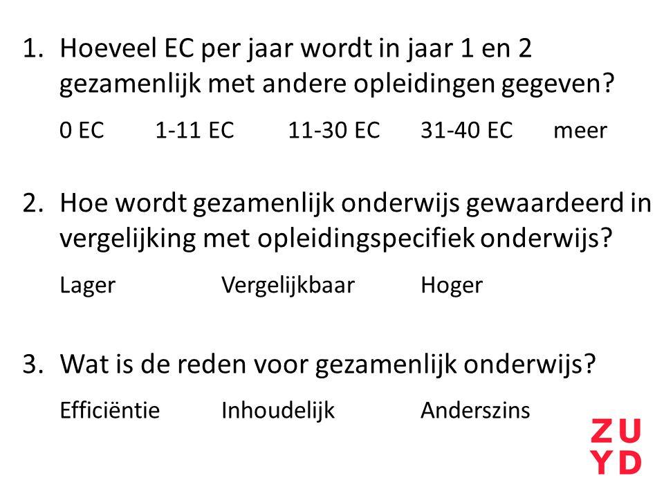 Hoeveel EC per jaar wordt in jaar 1 en 2 gezamenlijk met andere opleidingen gegeven 0 EC 1-11 EC 11-30 EC 31-40 EC meer