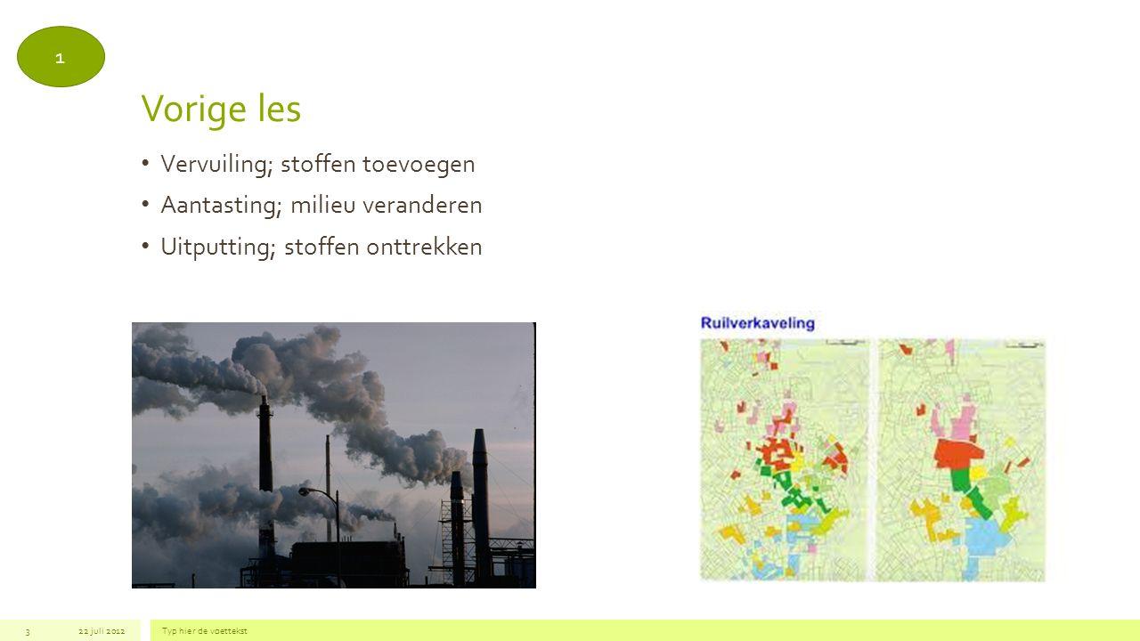 Vorige les Vervuiling; stoffen toevoegen Aantasting; milieu veranderen