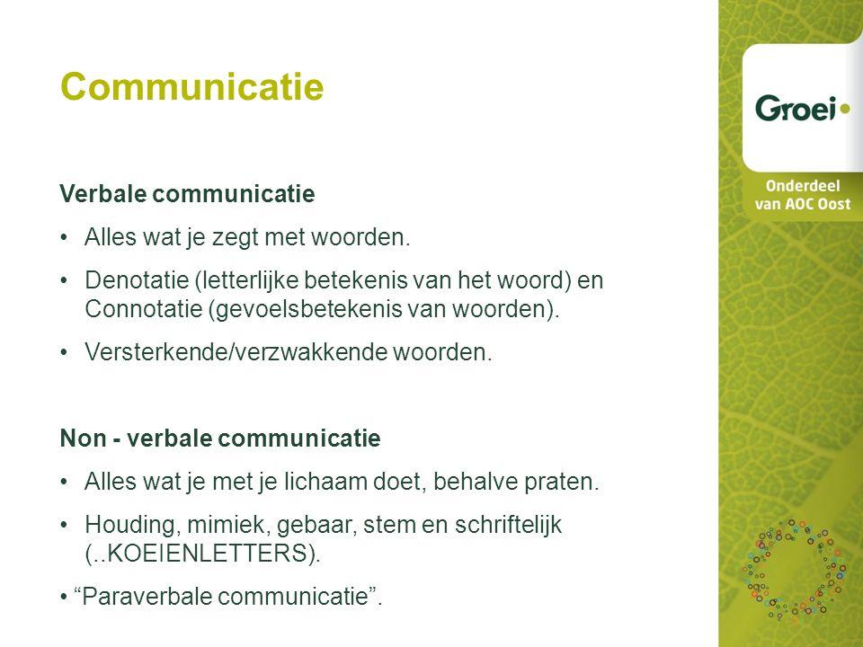 Communicatie Verbale communicatie Alles wat je zegt met woorden.