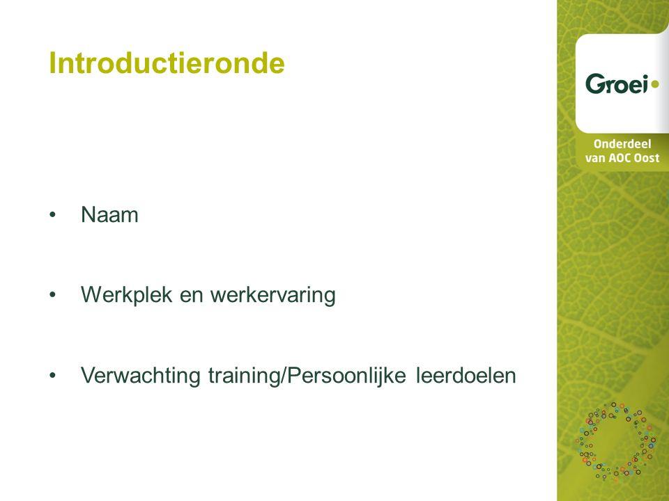 Introductieronde Naam Werkplek en werkervaring
