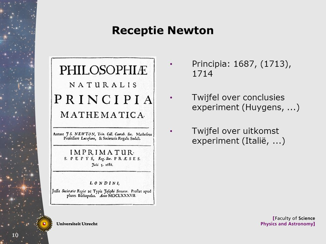 Receptie Newton Principia: 1687, (1713), 1714