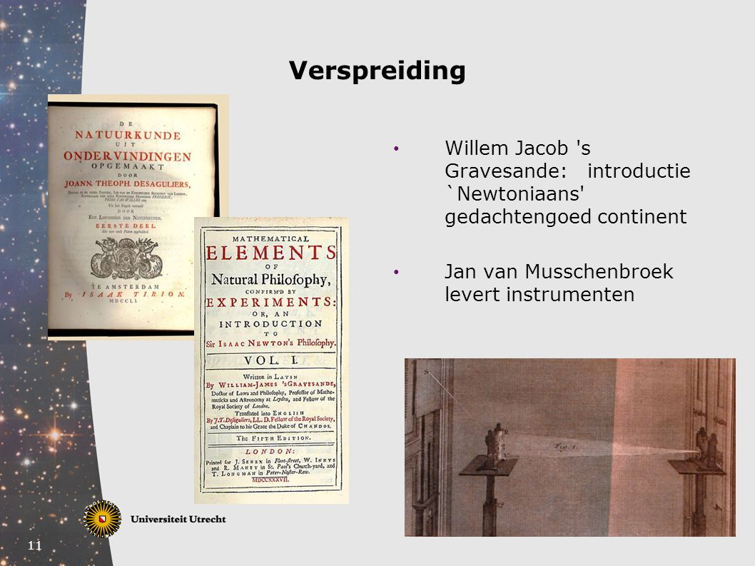 Verspreiding Willem Jacob s Gravesande: introductie `Newtoniaans gedachtengoed continent.
