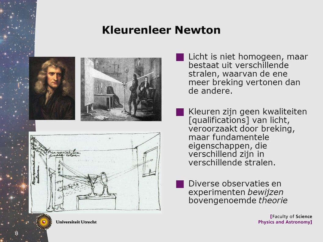 Kleurenleer Newton Licht is niet homogeen, maar bestaat uit verschillende stralen, waarvan de ene meer breking vertonen dan de andere.