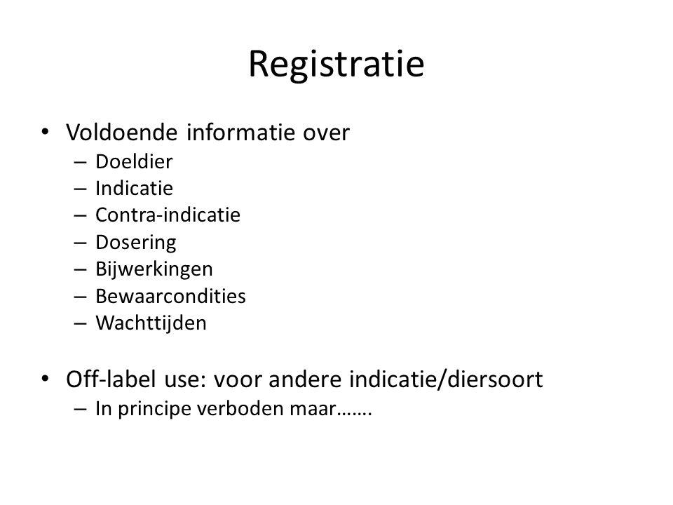 Registratie Voldoende informatie over