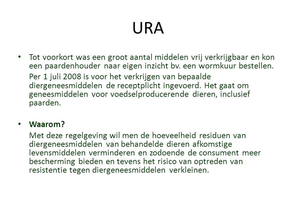 URA Tot voorkort was een groot aantal middelen vrij verkrijgbaar en kon een paardenhouder naar eigen inzicht bv. een wormkuur bestellen.