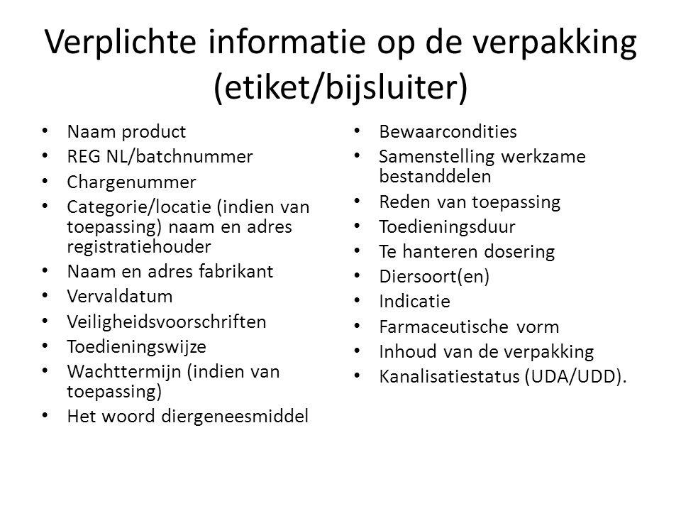 Verplichte informatie op de verpakking (etiket/bijsluiter)