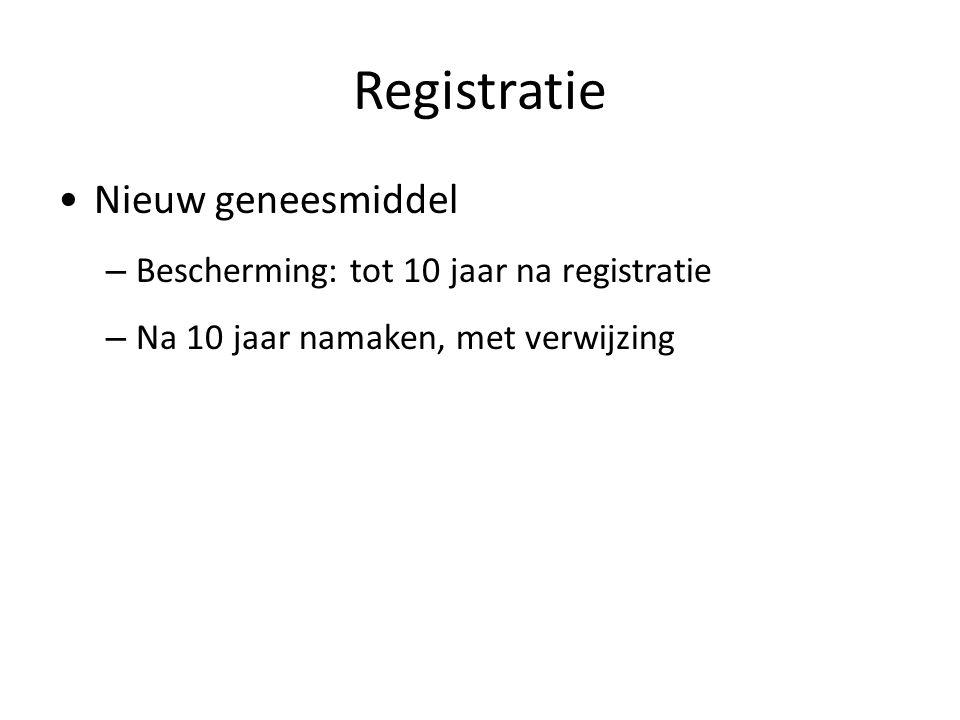Registratie Nieuw geneesmiddel Bescherming: tot 10 jaar na registratie