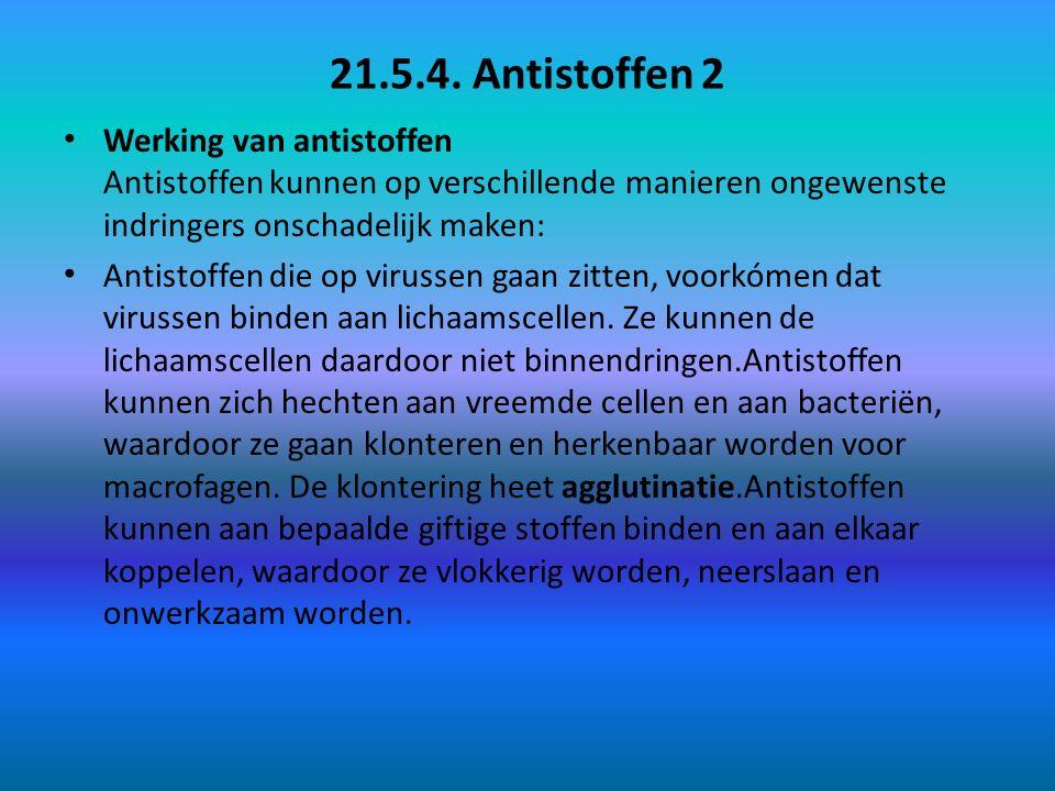 21.5.4. Antistoffen 2 Werking van antistoffen Antistoffen kunnen op verschillende manieren ongewenste indringers onschadelijk maken: