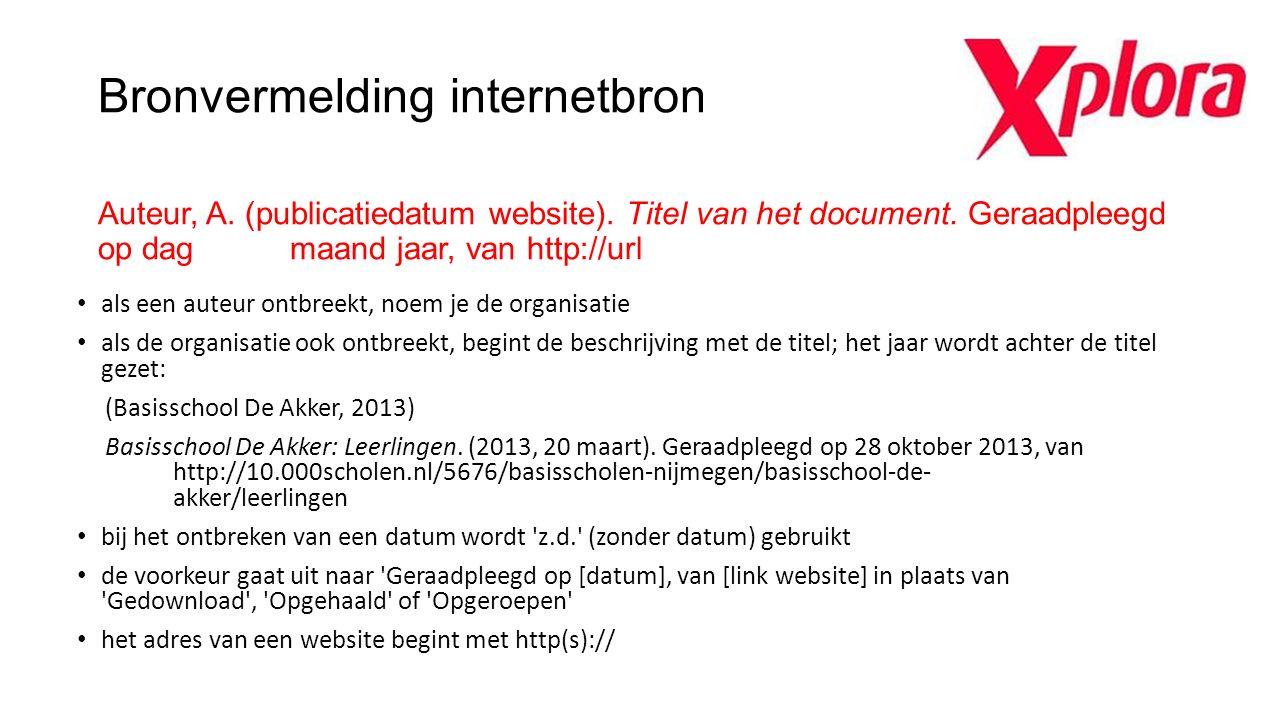 Bronvermelding internetbron Auteur, A. (publicatiedatum website)