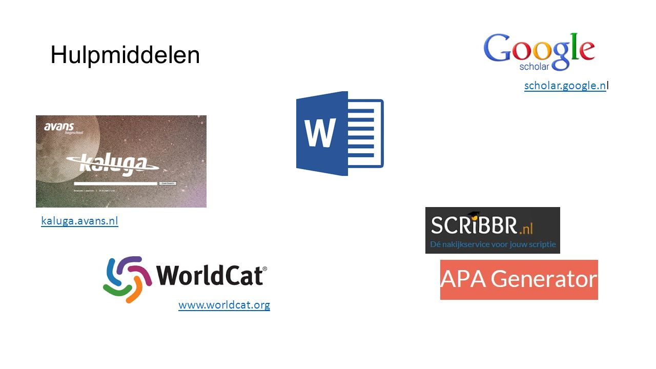 Hulpmiddelen scholar.google.nl kaluga.avans.nl www.worldcat.org