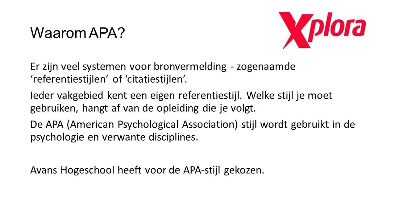 Waarom APA
