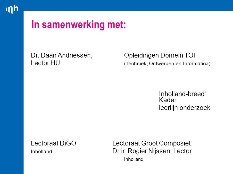 In samenwerking met: Dr. Daan Andriessen, Opleidingen Domein TOI